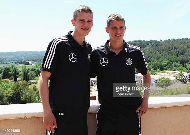 Sven and Lars Bender are pictured after the Germany press conference at Hotel Chateau de Camiole on May 23 2012 in Callian France