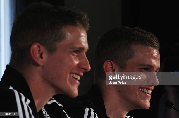 Sven and Lars Bender attend the Germany press conference at Hotel Chateau de Camiole on May 23 2012 in Callian France