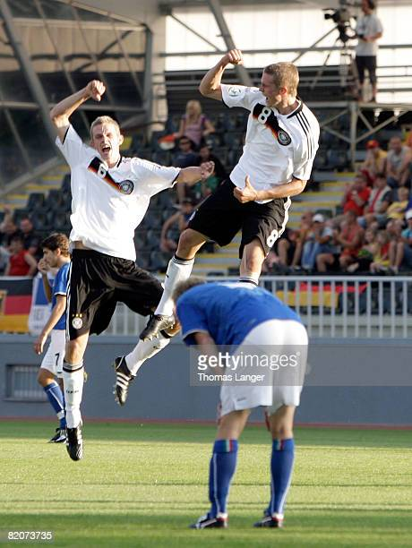 Sven and Lars Bender of Germany celebrate Bender's 10 goal during the U19 European Championship final match between Germany and Italy on July 26 2008...
