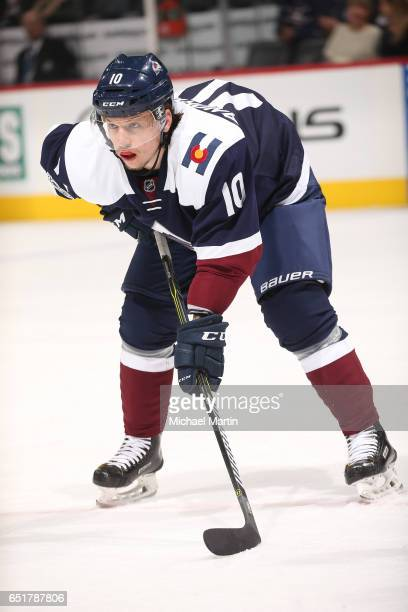 Sven Andrighetto of the Colorado Avalanche skates against the New Jersey Devils at the Pepsi Center on March 9 2017 in Denver Colorado The Avalanche...