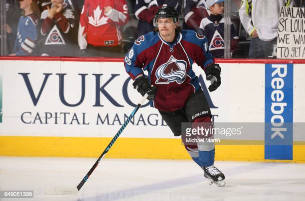 Sven Andrighetto of the Colorado Avalanche skates prior to the game against the St Louis Blues at the Pepsi Center on March 5 2017 in Denver Colorado...