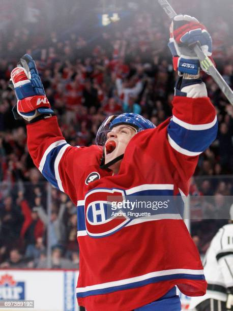Sven Andrighetto of the Montreal Canadiens celebrates during the game against the Los Angeles Kings at the Bell Centre on December 12 2014 in...