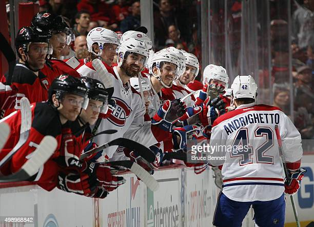 Sven Andrighetto of the Montreal Canadiens celebrates his game winning shootout goal against the New Jersey Devils at the Prudential Center on...