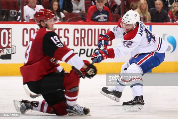 Sven Andrighetto of the Montreal Canadiens in action during the second period of the NHL game against the Arizona Coyotes at Gila River Arena on...