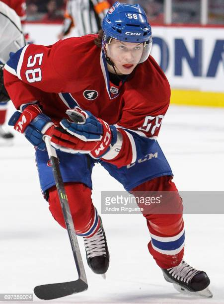 Sven Andrighetto of the Montreal Canadiens plays in the game against the Los Angeles Kings at the Bell Centre on December 12 2014 in Montreal Quebec...
