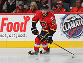Sven Baertchi of the Calgary Flames skates against X the Arizona Coyotes at Scotiabank Saddledome on November 13 2014 in Calgary Alberta Canada