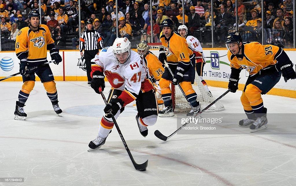 Sven Baertschi #47 of the Calgary Flames skates against the Nashville Predators at the Bridgestone Arena on April 23, 2013 in Nashville, Tennessee.