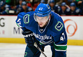 Sven Baertschi of the Vancouver Canucks during their NHL game against the Edmonton Oilers at Rogers Arena December 26 2015 in Vancouver British...