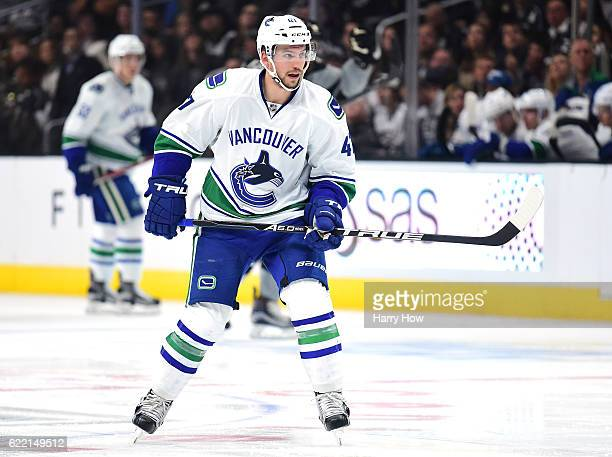 Sven Baertschi of the Vancouver Canucks forechecks against the Los Angeles Kings at Staples Center on October 22 2016 in Los Angeles California