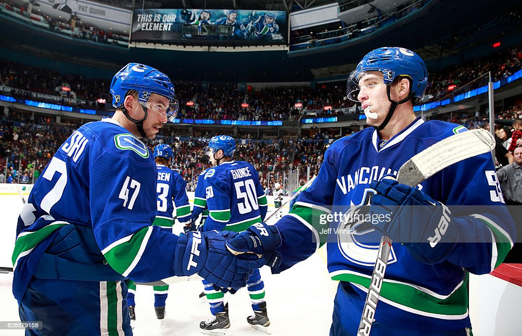 Sven Baertschi #47 of the Vancouver Canucks is congratulated by teammate Bo Horvat #53 after defeating the Minnesota Wild in their NHL game at Rogers Arena November 29, 2016 in Vancouver, British Columbia, Canada. Vancouver won 5-4.