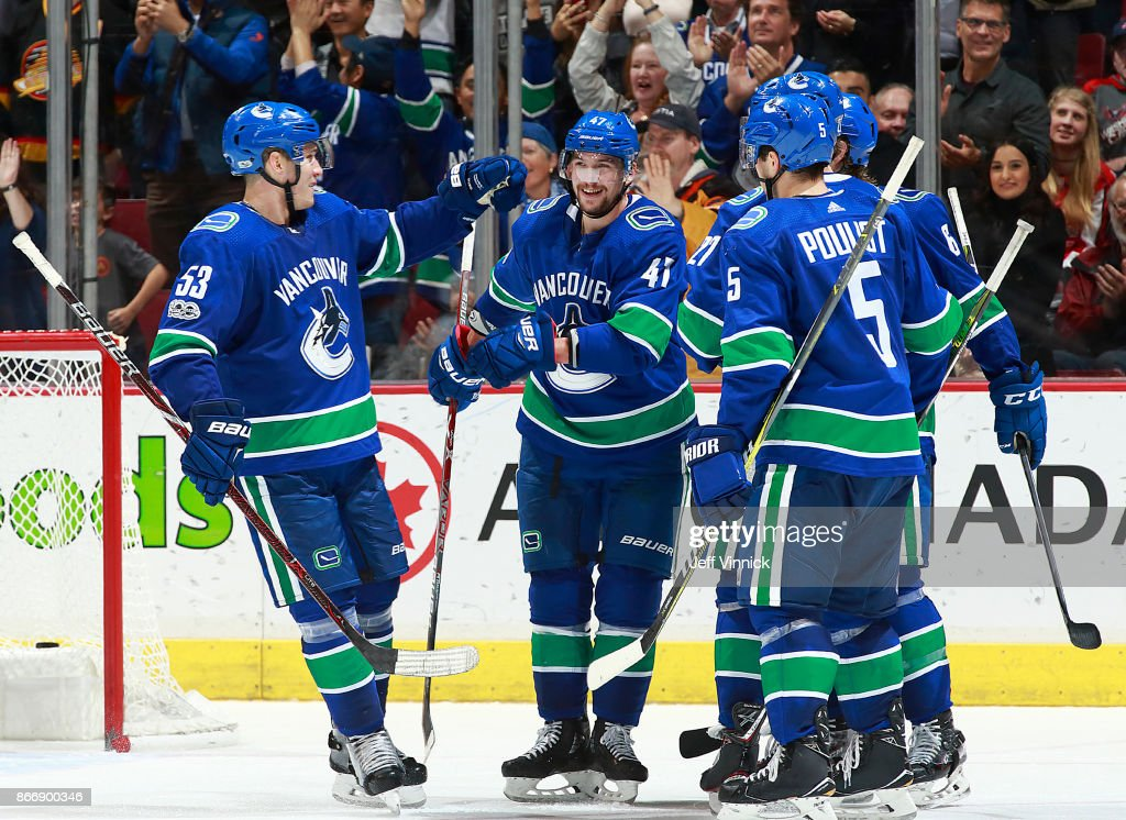 Sven Baertschi #47 of the Vancouver Canucks is congratulated by teammates Bo Horvat #53 and Derrick Pouliot #5 after scoring his second goal during their NHL game against the Washington Capitals at Rogers Arena October 26, 2017 in Vancouver, British Columbia, Canada. Vancouver won 6-2.