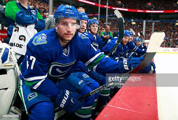 Sven Baertschi of the Vancouver Canucks looks on from the bench during their NHL game against the Montreal Canadiens at Rogers Arena October 27 2015...