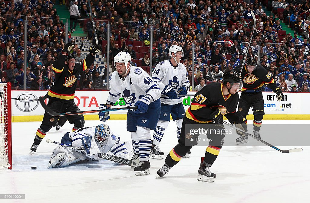 <a gi-track='captionPersonalityLinkClicked' href=/galleries/search?phrase=Sven+Baertschi&family=editorial&specificpeople=7832299 ng-click='$event.stopPropagation()'>Sven Baertschi</a> #47 of the Vancouver Canucks scores on <a gi-track='captionPersonalityLinkClicked' href=/galleries/search?phrase=James+Reimer+-+Hockey+Player&family=editorial&specificpeople=7543302 ng-click='$event.stopPropagation()'>James Reimer</a> #34 of the Toronto Maple Leafs during their NHL game at Rogers Arena February 13, 2016 in Vancouver, British Columbia, Canada. Toronto won 5-2.