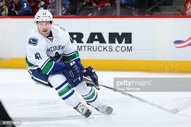 Sven Baertschi of the Vancouver Canucks skates against the Colorado Avalanche at Pepsi Center on February 9 2016 in Denver Colorado The Canucks...