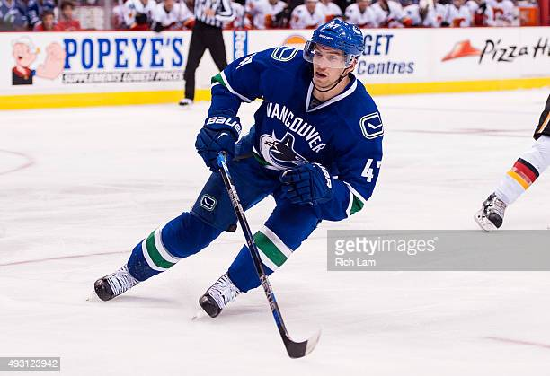 Sven Baertschi of the Vancouver Canucks skates in NHL action against the Calgary Flames on October 10 2015 at Rogers Arena in Vancouver British...