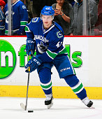 Sven Baertschi of the Vancouver Canucks skates up ice during their NHL game against the Arizona Coyotes at Rogers Arena April 9 2015 in Vancouver...