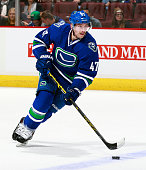 Sven Baertschi of the Vancouver Canucks skates up ice during their NHL game against the Philadelphia Flyers at Rogers Arena November 2 2015 in...