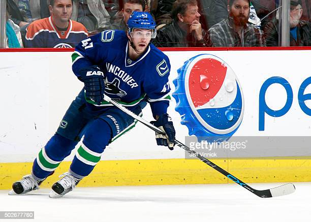 Sven Baertschi of the Vancouver Canucks skates up ice during their NHL game against the Edmonton Oilers at Rogers Arena December 26 2015 in Vancouver...