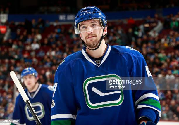 Sven Baertschi of the Vancouver Canucks skates up ice during their NHL game against the Dallas Stars at Rogers Arena March 16 2017 in Vancouver...