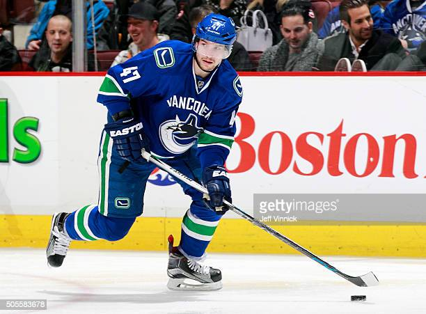 Sven Baertschi of the Vancouver Canucks skates up ice with the puck during their NHL game against the Tampa Bay Lightning at Rogers Arena January 9...