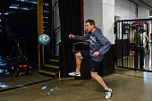 Sven Baertschi of the Vancouver Canucks warms up prior to Game Four of the Western Quarterfinals during the 2015 NHL Stanley Cup Playoffs at...
