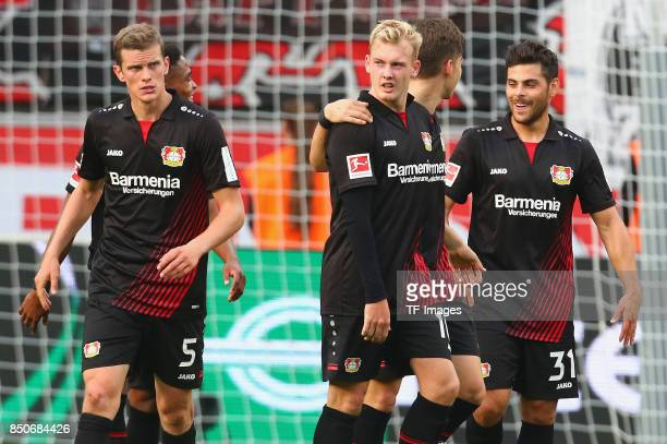 Sven Bender and Julian Brandt and Kevin Volland celebrate a goal during the Bundesliga match between Bayer 04 Leverkusen and SC Freiburg at BayArena...