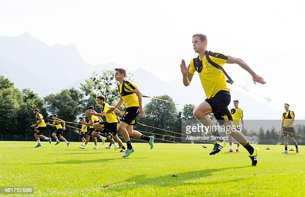 Sven Bender and Matthias Ginter of Borussia Dortmund fr during the training session on the training ground of Bad Ragaz on July 24 2015 in Bad Ragaz...
