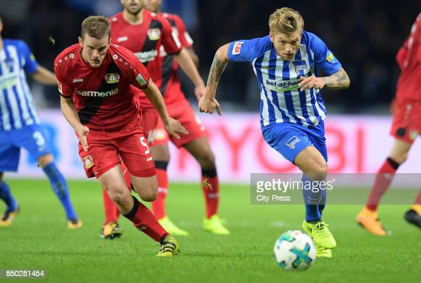 Sven Bender of Bayer 04 Leverkusen and Alexander Esswein of Hertha BSC during the game between Hertha BSC and Bayer 04 Leverkusen on september 20...