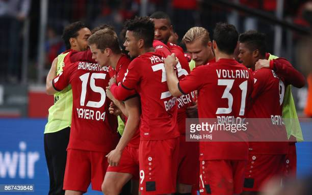 Sven Bender of Bayer Leverkusen celebrates with his team after he scored a goal to make it 21 during the Bundesliga match between Bayer 04 Leverkusen...