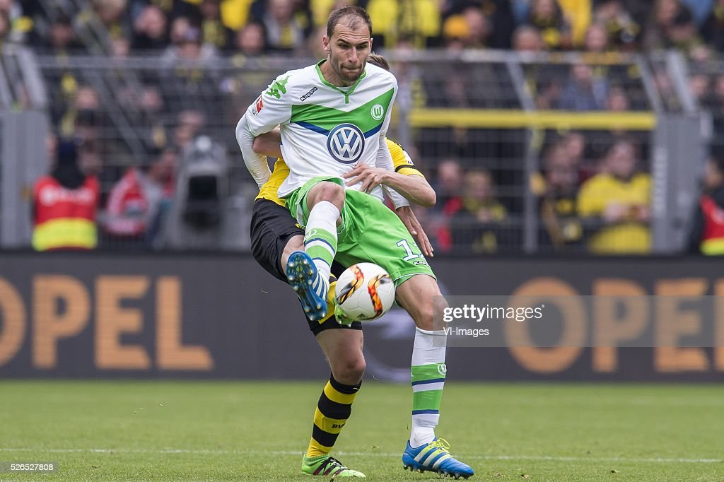 Sven Bender of Borussia Dortmund, Bas Dost of VFL Wolfsburg during the Bundesliga match between Borussia Dortmund and VfL Wolfsburg on April 30, 2016 at the Signal Idun Park stadium in Dortmund, Germany.