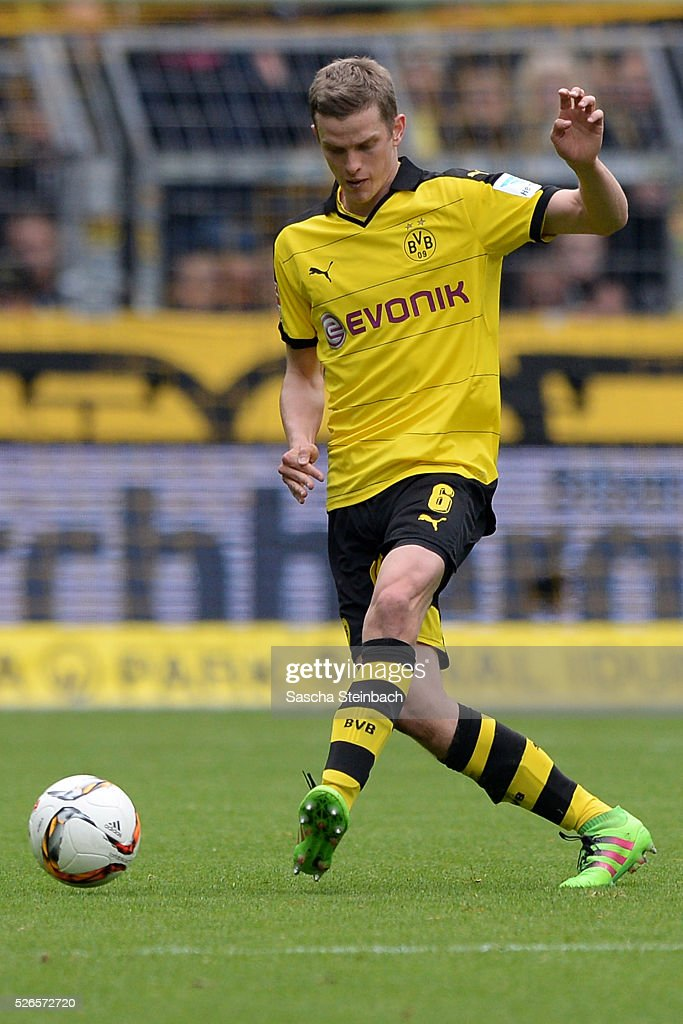 Sven Bender of Dortmund controls the ball during the Bundesliga match between Borussia Dortmund and VfL Wolfsburg at Signal Iduna Park on April 29, 2016 in Dortmund, Germany.