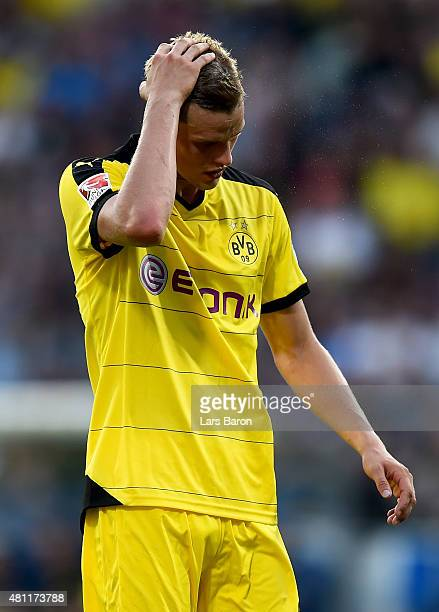 Sven Bender of Dortmund is seen during a preseason friendly match between VfL Bochum and Borussia Dortmund at Rewirpower Stadium on July 17 2015 in...