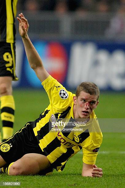 Sven Bender of Dortmund reacts after suffering an injury during the UEFA Champions League Group D match between Ajax Amsterdam and Borussia Dortmund...