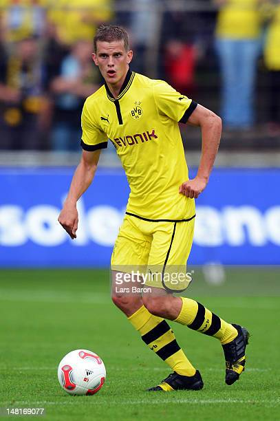 Sven Bender of Dortmund runs with the ball during a friendly match between SV Meppen and Borussia Dortmund at MEPArena on July 11 2012 in Meppen...