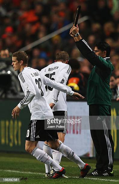 Sven Bender of Germany replaces Lars Bender during a substitution during the International Friendly match between Netherlands and Germany at...