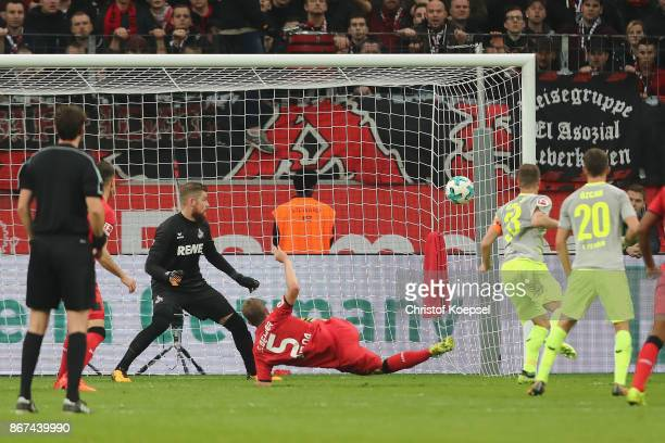 Sven Bender of Leverkusen scores the second goal of Leverkusen during the Bundesliga match between Bayer 04 Leverkusen and 1 FC Koeln at BayArena on...