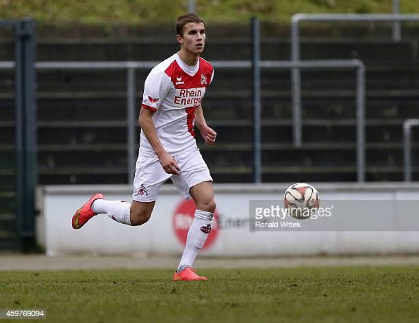 Sven Engelke of Koeln runs with the ball during the Regionalliga West match between 1 FC Koeln II and RotWeiss Essen at FranzKremerStadion on...