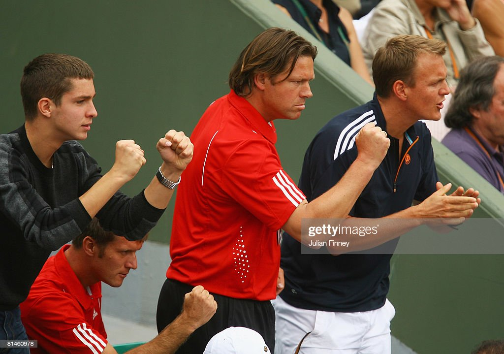 Sven Groeneveld, the coach of Ana Ivanovic of Serbia celebrates during the Women's Singles Semi Final match between Jelena Jankovic of Serbia and Ana Ivanovic of Serbia on day twelve of the French Open at Roland Garros on June 5, 2008 in Paris, France.