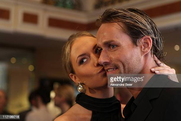 Sven Hannawald and Alena Gerber attend the Success for Future Award 2011 at Bayerischer Hof on April 14 2011 in Munich Germany