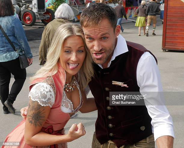Sven Hannawald and Melissa Thiem sighted at the Fisch Baeda during the Oktoberfest 2015 Opening at Theresienwiese on September 19 2015 in Munich...