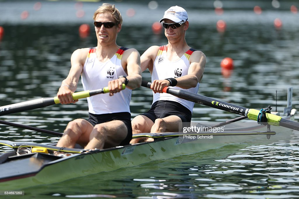 Sven Kessler (R) and Julius Peschel of Germany compete in the Lightweight Men's Pair heats during day 1 of the 2016 World Rowing Cup II at Rotsee on May 27, 2016 in Lucerne, Switzerland.