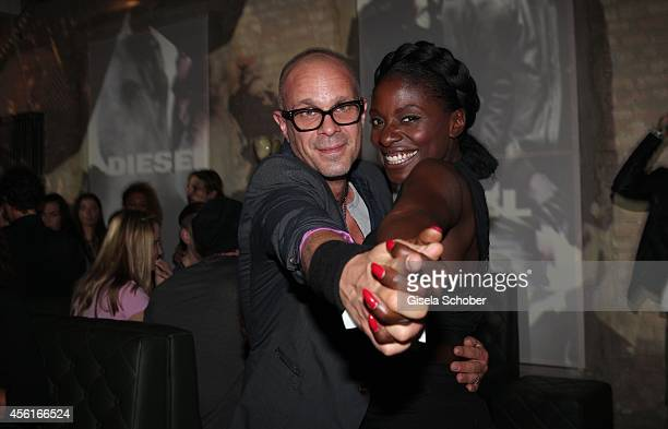 Sven KilthauLander and Nikeata Thompson wearing Diesel at the Diesel ConstantinFilm Premiere Afterparty of 'Maennerhort' at 'The Grand' on September...