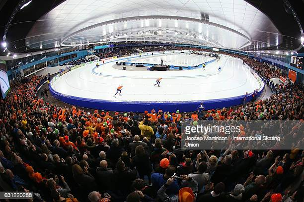 Sven Kramer and Jan Blokhuijsen of Netherlands compete in the Men's Allround 10000m during day 3 of the European Speed Skating Championships at...