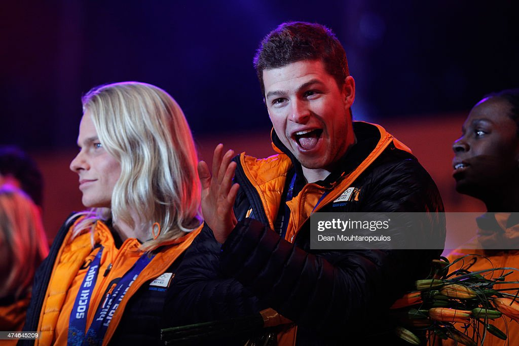 <a gi-track='captionPersonalityLinkClicked' href=/galleries/search?phrase=Sven+Kramer&family=editorial&specificpeople=769363 ng-click='$event.stopPropagation()'>Sven Kramer</a> celebrates on the main stage during the Welcome Home Reception Held For Dutch Winter Olympic Athletes on February 24, 2014 in Assen, Netherlands.