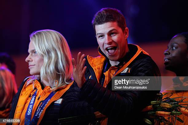 Sven Kramer celebrates on the main stage during the Welcome Home Reception Held For Dutch Winter Olympic Athletes on February 24 2014 in Assen...