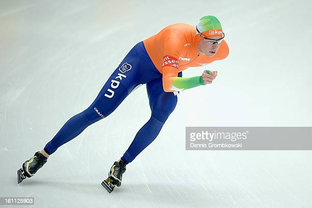 Sven Kramer of Netherlands competes in the Men's 5000m Division A race during day one of the ISU Speed Skating World Cup at Max Eicher Arena on...