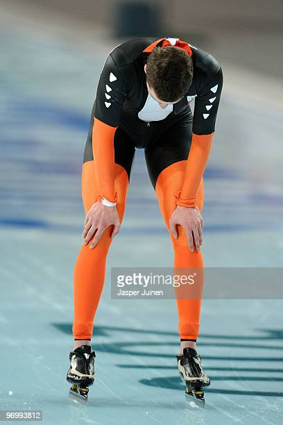 Sven Kramer of Netherlands reacts after finishing first but being disqualified in the men's speed skating 10000 m on day 12 of the 2010 Vancouver...