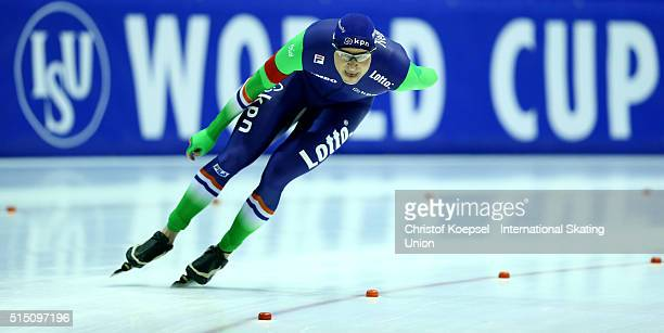 Sven Kramer of Netherlands skates during the 5000m men Divison A race during day 2 of ISU Speed Skating World Cup Final at Thialf Ice Arena on March...