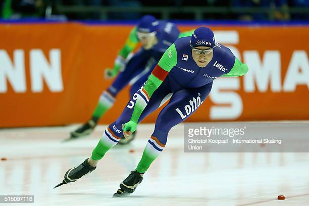 Sven Kramer of Netherlands skates in front of Jorrit Bergsma of Netherlands skates during the 5000m men Divison A race during day 2 of ISU Speed...