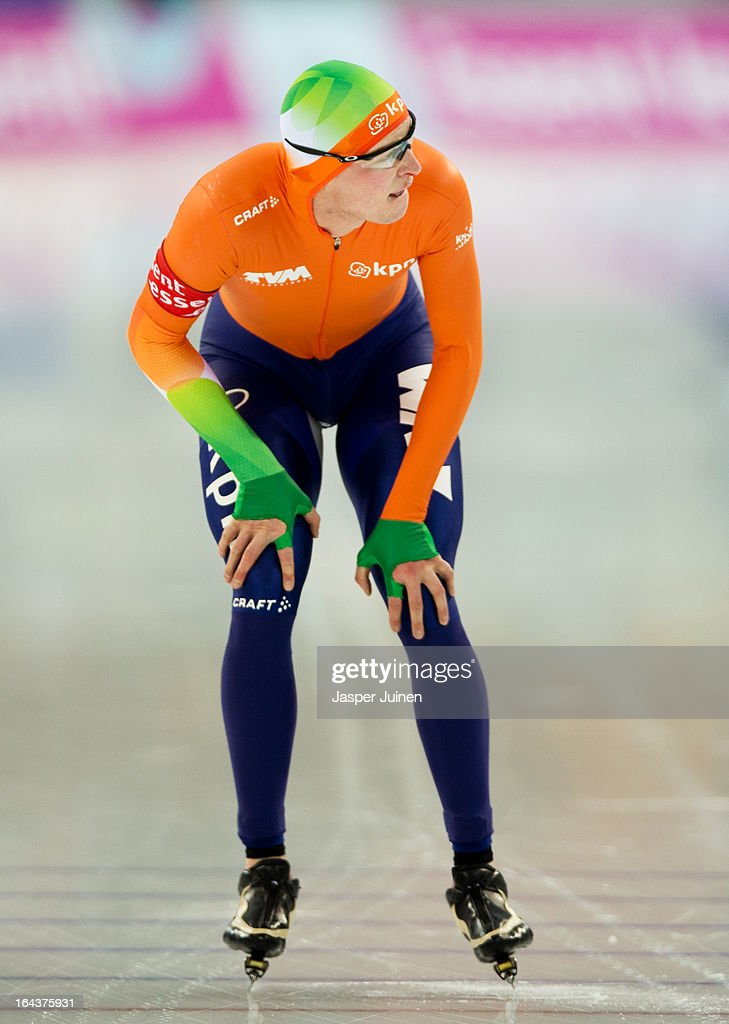 Sven Kramer of the Netherlands looks at his time after his 10000m race on day three of the Essent ISU World Single Distances Speed Skating Championships at the Adler Arena Skating Center on March 23, 2013 in Sochi, Russia.